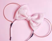 Pink Velvet Bow and Rose Gold Wire Mouse Ears