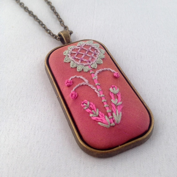 Pink Flower Necklace / Stitched Flower Pendant / Embroidered Floral Necklace / Gift For Her