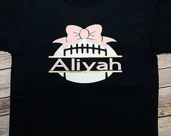 Personalized Girls Football Bow Name shirt