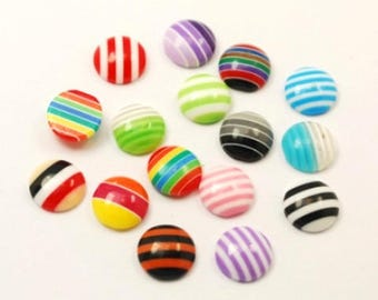 20 striped multicolored round cabochons 10mm resin, resin embellishment
