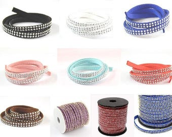 Suede cord 50cm studded rhinestone silver plated 5mm / / suede cord studded 2 rows