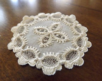 Magnificient Handmade Lace Doilie/Coaster 1930_Intricate Handmade Lace