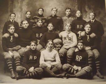Vintage Black And White Photo Rutgers Prep Football Team 1900_Original Photo Rutgers Football Team 1900s