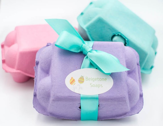 WELCOME SPRING!  | Lavender & Peppermint Goat's Milk Soap Eggs| 2oz per egg | Half Dozen Total | Comes in Cute Egg Carton, Color of Choice