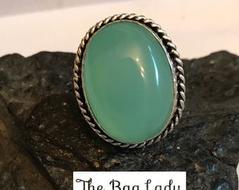 Chalcedony and .925 silver ring 9