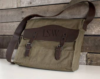 Personalized Messenger Bag, Man's Messenger Bag, Canvas and Leather