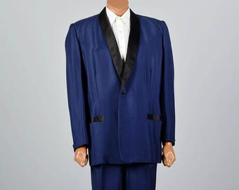 3XL 50R Mens 1950s Blue Tuxedo Big and Tall Portly Extra Large Shawl Collar Formal Back Tie Evening Rockabilly Elvis Costume Theater
