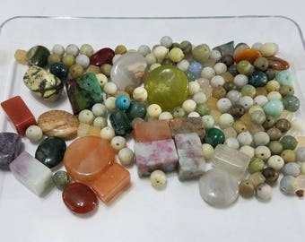 Gemstone, Lot, Semi-Precious, Stone, Mixed, Agate, Jasper, Cube, Round, Oval, Rectangle, Beads, Jewelry, Beading, Supply, Supplies