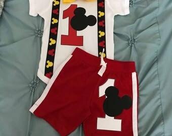 Mickey Mouse Birthday Shorts Set