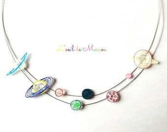 shrink plastic solar system necklace