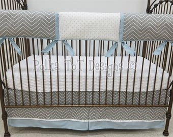 Baby Blue & Gray Crib Bedding NO Bumpers: Lewis