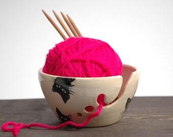 Ceramic Knitting Bowl ,cat Yarn Bowl, Yarn bowl with lid, funny yarn bowl