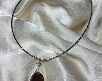 Honey Amber Necklace - Baltic Amber Pendant - Sterling Silver Necklace -Amber Pendant Omega Chain - Vintage Amber