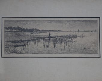 Vintage Illustration of a boy fishing - Dutch - Signed - 1940's - Personal message on back