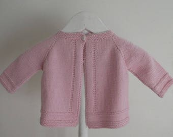 Pink baby Cardigan and bonnet in 100% Merino 0/1 month