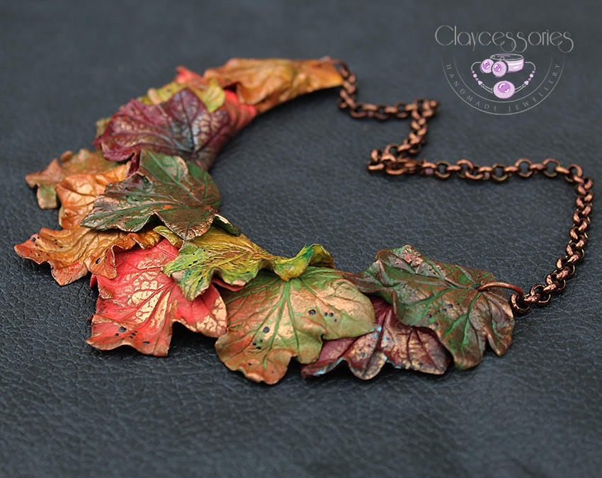 Maple leaf necklace Autumn leaf necklace Fall necklace Bib necklace Fall jewellery Leaves jewellery Statement necklace Polymer clay jewelry