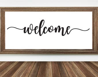 Welcome Wall Decor cursive welcome | etsy