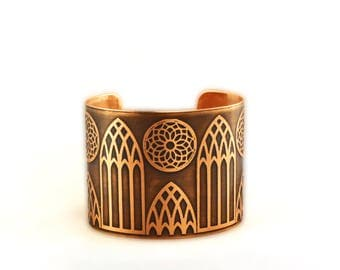 "Gothic Cathedral Windows design etched metal cuff bracelet 2""."