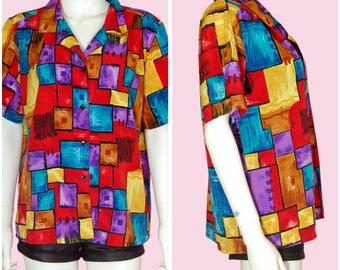 Colorful Top Vintage 90s Shirt Multicolor Print Top Large/XL