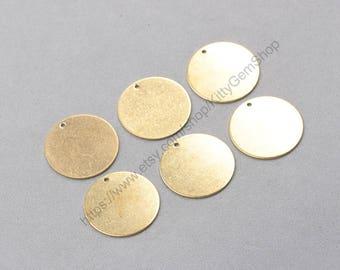 6Pcs, 25mm Raw Brass Round Slice Pendants Charms Wholesale Handmade Craft Supplies ZR-7881