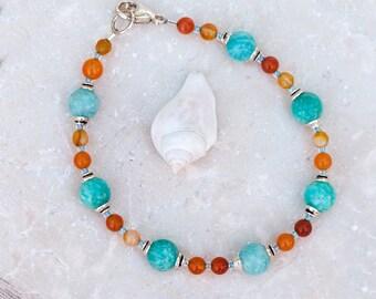 Carnelian & Amazonite Bracelet, Turquoise / Orange Bracelet, Natural Stone Bracelet, Sterling Silver Lobster Clasp, Petite Summer Bracelet,