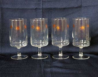 Set of 4 Wine/Water Glasses/Goblets ~ Federal Glass Co. ~ Mid Century ~ MCM ~ Atomic ~ Starburst ~ Sunburst ~ Snowflake ~ Bahamas