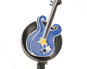 Guitar Retractable Badge Reel - Rockstar Guitar ID Badge - SassyBadge - Musical ID Badge - Nurse Gifts - Badges for Men