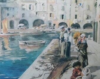 Vintage European Waterfront Watercolor Print