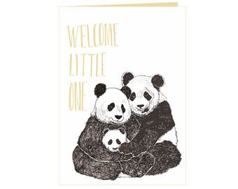 Beautiful heartwarming babyshower card - welcome baby card - birth card - newborn card - Welcome to the world - cute baby panda family