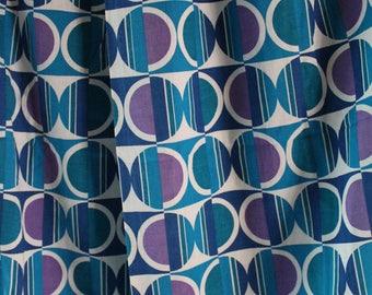 60er 70er Jahre Original Vorhang Gardine 132 cm x 112 cm Pop Art Psychedelisch Space Age Stoff Design blau lila Rockabilly