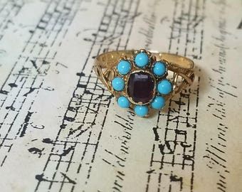 Edwardian Antique Turquoise Garnet Gold ring Unique engagement ring Heirloom jewelry gift for her January Birthstone Infinity statement ring