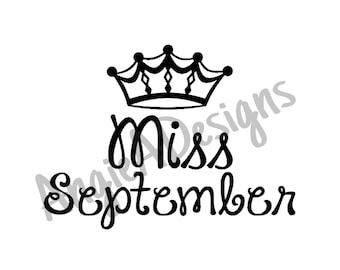 Miss September with Crown SVG