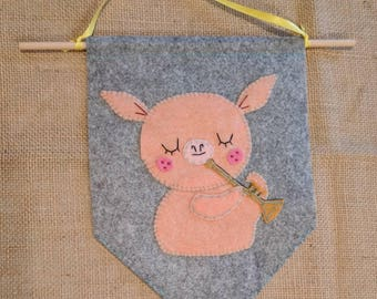 Childrens Nursery Wall Banner with Pig Playing Trumpet Instrument