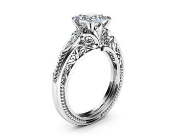 Square Moissanite Victorian Engagement Ring Princess Moissanite Engagement Ring 14K White Gold Victorian Ring