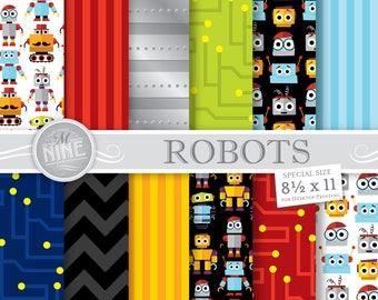 ROBOT Digital Paper / Robot Printables / Robot Theme Party, Cute Robots Patterns 8 1/2 x 11 Digital Scrapbook Paper Downloads