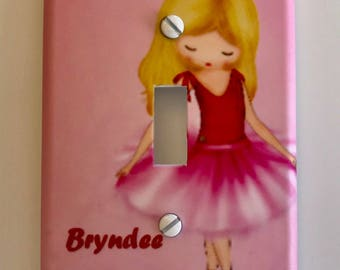 Ballerina light switch cover PERSONALIZED girls room
