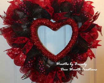 Heart Wreath Valentine Day Wreath Deco Mesh Wreath Large Black and Red Heart Shaped Valentine's Day Wreath II