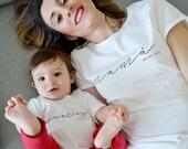 Customized Jersey maman et fils ou jeu de fille, t-shirt femme court, chemise enfant, cadeau maman, cadeau bébé