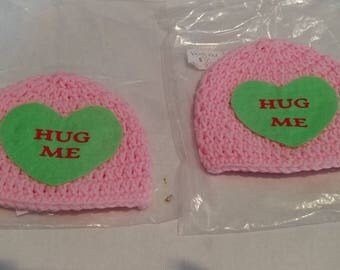 Hug Me conversation hat, Ready To Ship, Crochet baby Valentines day hat, baby girl Valentine's day hat, pink crochet hat, sweet heart, heart