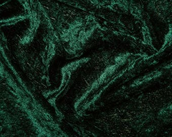 "Bottle Green Crushed Velvet Velour Fabric Material - Polyester - 150cm (59"") wide"