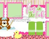 Scrapbook Page Kit Bath Fun in the Tub Bear Duck Girl Baby Toddler 2 page Scrapbook Layout Kit 146