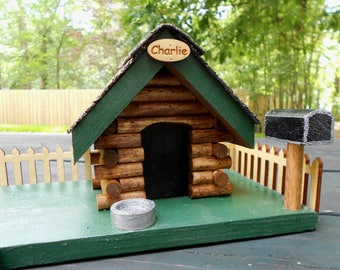custom wood mailbox. personalized miniature dog log cabin carved from wood painted display or mailbox add custom