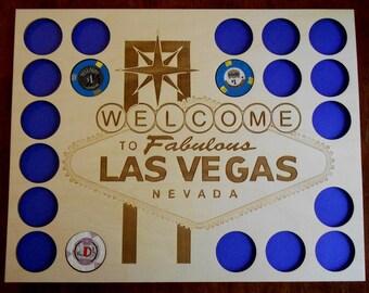 Las Vegas Poker Chip Display Frame Insert Laser-engraved Vegas logo Poker Player Gift Vegas poker Holder for 20 Casino chips
