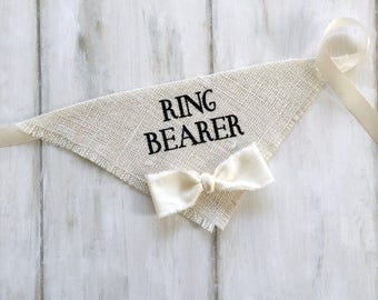 X-Large READY TO SHIP Ivory Ring Bearer Bandana with Bow Tie Wedding Collar Boy Bowtie Engagement Save the Date Photo Prop