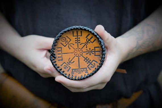 Viking Elder Futhark Rune Pouch with Vegvisir - Norse Compass Design