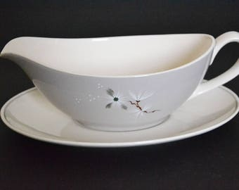 Royal Doulton Gravy Boat with Matching Dish, 'Frost Pine' Pattern