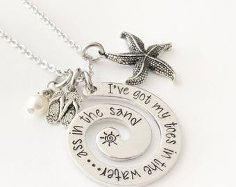 Toes in the water ass in the sand - Swirl necklace - Hand stamped necklace - Toes in the water necklace - Summer jewelry - Swirl jewelry