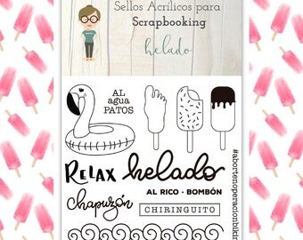 Clear Scrapbooking Stamp HELADO in Spanish