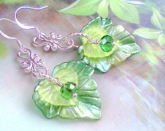 Green Leaf Earrings, Painted Leaf Jewelry, Green Leaves, Leaf Earrings, Springtime Earrings, Hand Painted Leaf Earrings, Leaf Jewelry, Boho