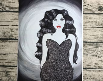 GODDESS Nadia Noir 11 x 17 inch High Quality art painting print 2016 black and white